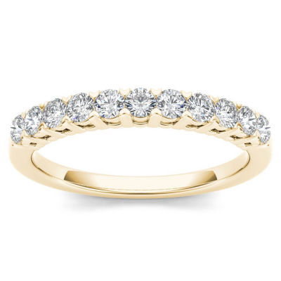 Womens 3/8 CT. T.W. Genuine White Diamond 10K Gold Wedding Band