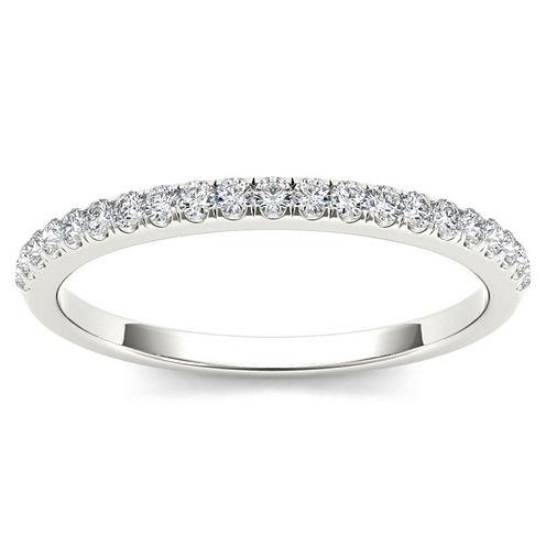 Womens 1/6 CT. T.W. Genuine White Diamond 10K Gold Wedding Band