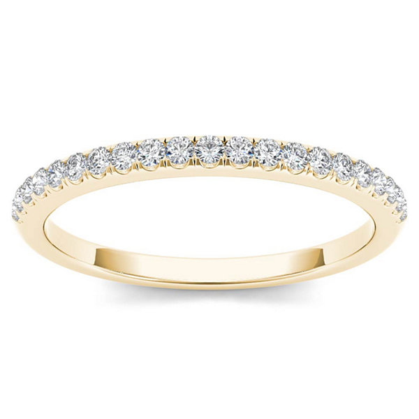 Womens 1/6 CT. T.W. Genuine White Diamond 10K Gold Wedding Band