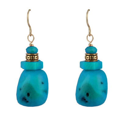 Artsmith By Barse Blue Bronze Drop Earrings