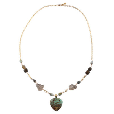 Artsmith By Barse Blue Bronze Beaded Necklace