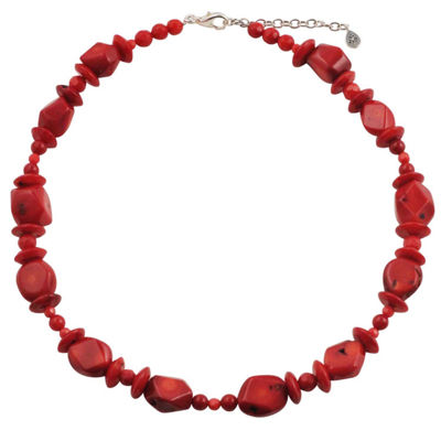 Artsmith By Barse Womens Red Beaded Necklace
