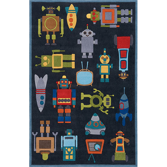 Momeni Lil Mo Robots Hand Tufted Rectangular Indoor Rugs