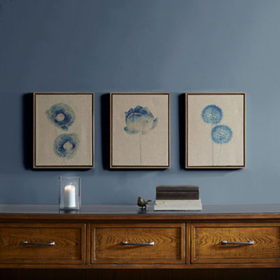 Madison Park Blue Print Botanicals 3-pc. Canvas Art