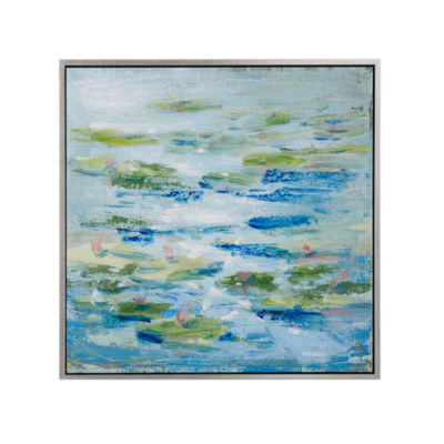 Madison Park Signature Lilies in a Blue Pond Canvas Art