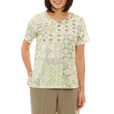 Alfred Dunner Botanical Garden Short Sleeve Crew Neck T-Shirt-Womens