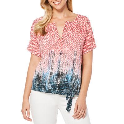Rafaella Short Sleeve V Neck Woven Pattern Blouse
