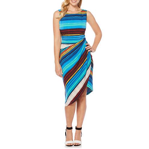 Rafaella Sleeveless Stripe Wrap Dress