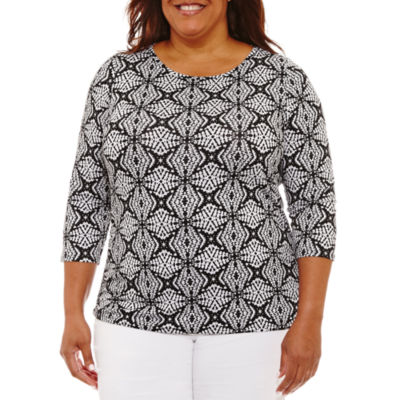 Lark Lane Must Haves 3/4 Sleeve Geo Print T-Shirt-Plus