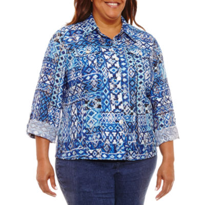 Lark Lane Roll Sleeve Print Shirt Jacket-Plus