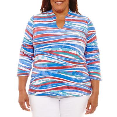 Lark Lane Must Haves 3/4 Sleeve Split Neck T-Shirt-Plus
