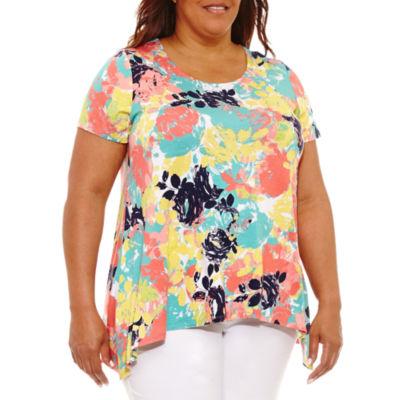 Lark Lane Must Haves Embellished Floral Sharkbite Hem T-Shirt-Plus