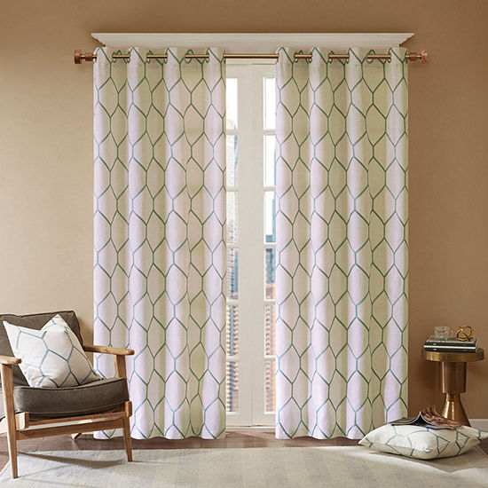 Madison Park Asher Metallic Light-Filtering Grommet-Top Curtain Panel