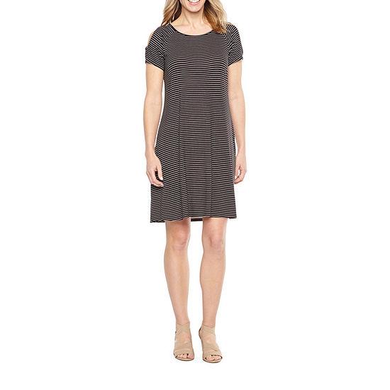 St. John's Bay Cold Shoulder Swing Dress - Tall