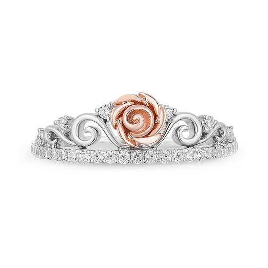 Enchanted Disney Fine Jewelry Womens 1/4 CT. T.W. Genuine White Diamond 10K Rose Gold Beauty and the Beast Promise Ring