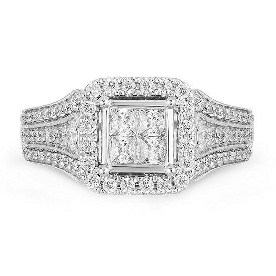 Enchanted Disney Fine Jewelry Womens 3/4 CT. T.W. Genuine White Diamond 14K Rose Gold Engagement Ring