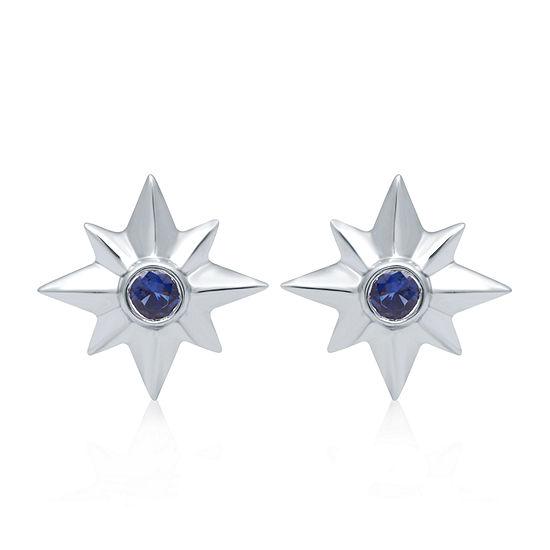 Universe Fine Jewelry By Marvel Genuine Blue Topaz Sterling Silver 14.6mm Captain Marvel Stud Earrings