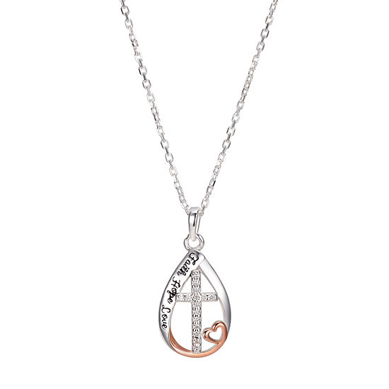 Footnotes Faith Cubic Zirconia Sterling Silver 16 Inch Cross Pendant Necklace