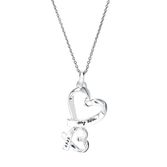 Footnotes Mom Sterling Silver 16 Inch Link Heart Pendant Necklace