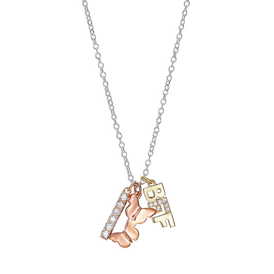 Footnotes Bff Butterflies Cubic Zirconia Sterling Silver 18 Inch Cable Pendant Necklace