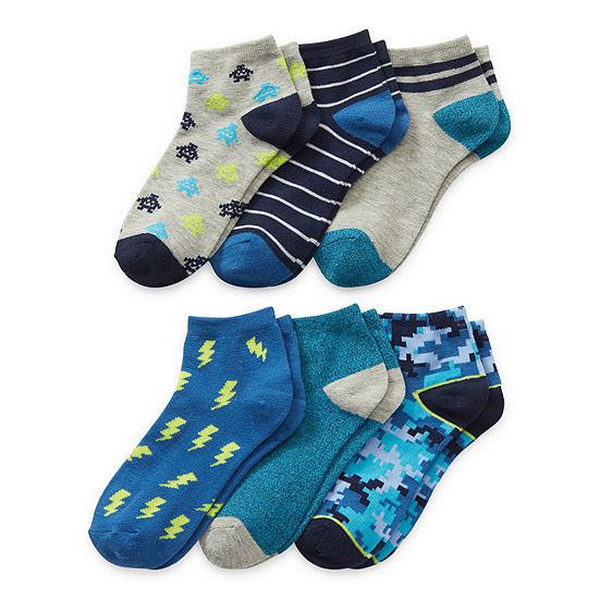 Thereabouts Little & Big Boys 6 Pair Quarter Socks