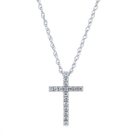 Womens 1/10 CT. T.W. Genuine Diamond 10K White Gold Cross Pendant Necklace, One Size