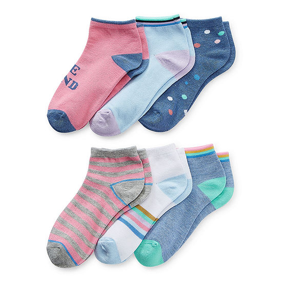 Thereabouts Little & Big Girls 6 Pair Quarter Socks