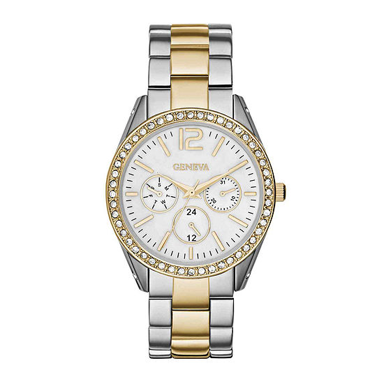 Womens Crystal-Accent Boyfriend Bracelet Watch