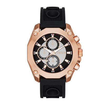 Mens Multifunction-Look Black Silicone Strap Watch