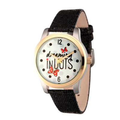Disney® Womens Minnie Mouse Black Dreaming In Dots Strap Watch