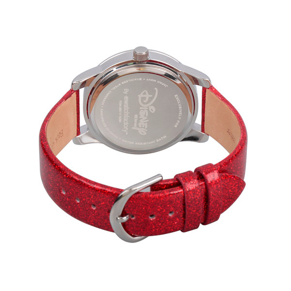 Disney® Womens Minnie Mouse Red And Silver Tone Dreaming In Dots Strap Watch