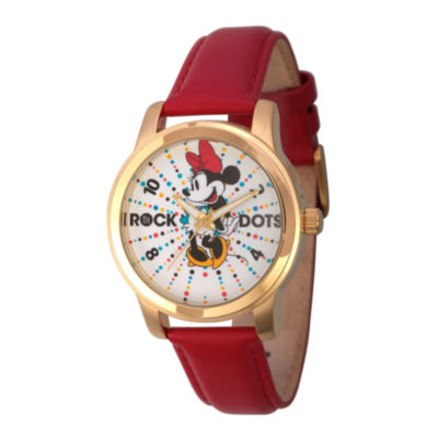 Disney® Womens Minnie Mouse Red And Gold Tone Rock the Dots Strap Watch