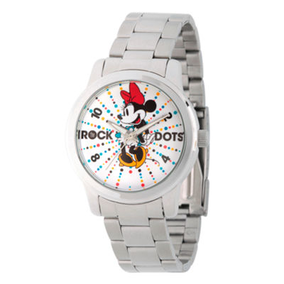 Disney® Womens Minnie Mouse Silver Tone Rock theDots Bracelet Watch