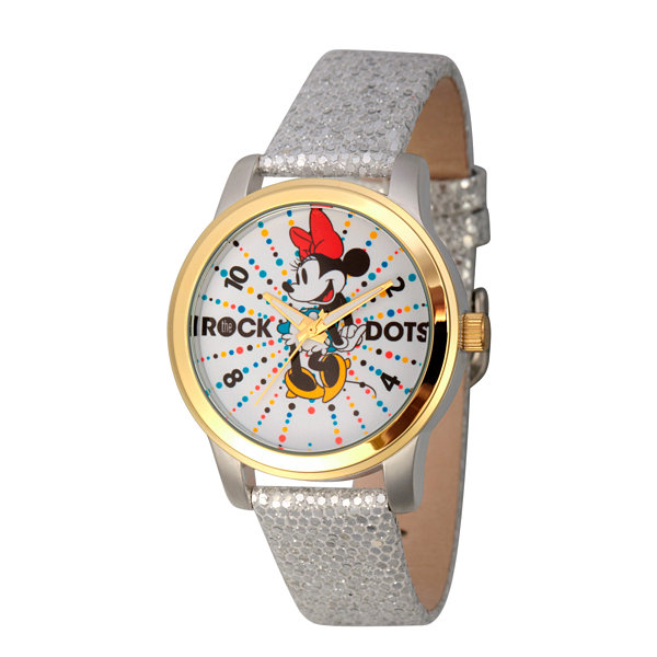 Disney® Womens Minnie Mouse Silver And Gold ToneRock the Dots Strap Watch