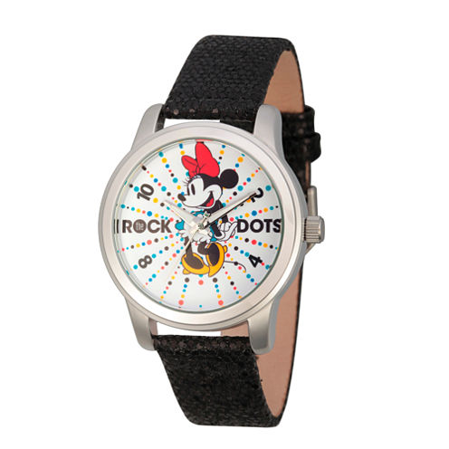 Disney® Womens Minnie Mouse Black And Silver ToneRock the Dots Strap Watch