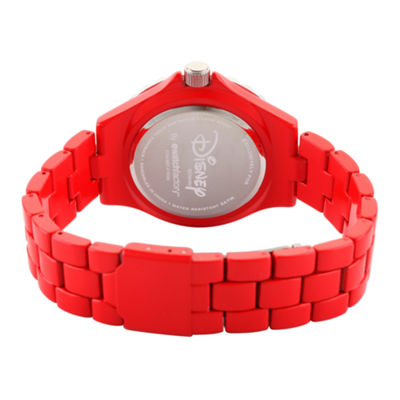 Disney® Womens Minnie Mouse Red And Silver Tone Silhouette Bracelet Watch