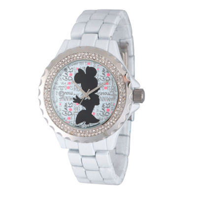 Disney® Womens Minnie Mouse White And Silver ToneGlitz Silhouette Bracelet Watch