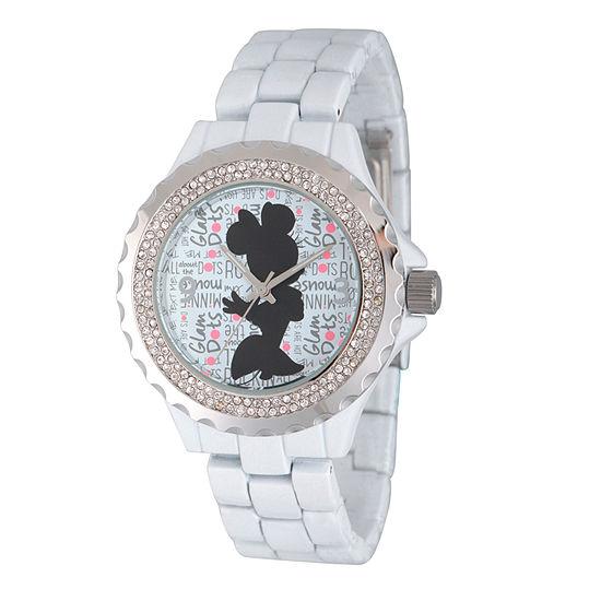 Disney® Womens Minnie Mouse White And Silver ToneGlitz Silhouette Bracelet Watch