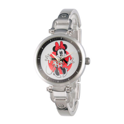 Disney® Womens Minnie Mouse Silver Tone Bridle Bracelet Watch