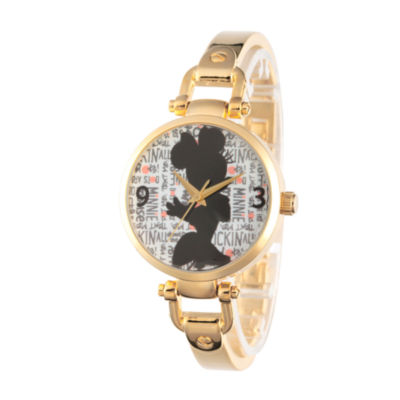 Disney® Womens Minnie Mouse Gold Tone Bridle Bracelet Watch