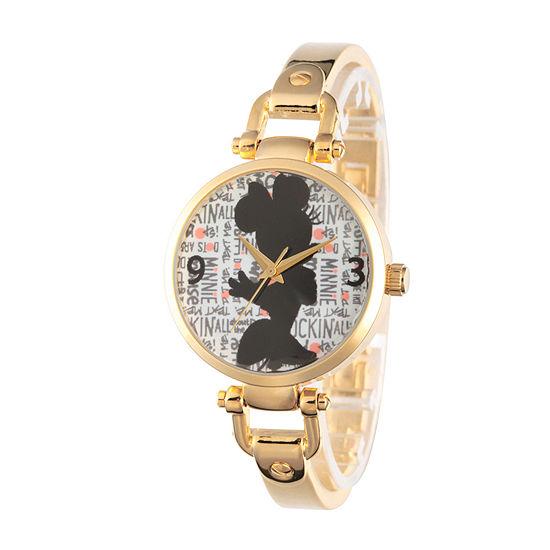 Disney® Womens Minnie Mouse Gold Tone Bridle Bracelet Watch