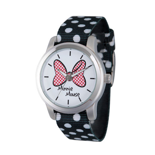 Disney® Womens Minnie Mouse Black Polka Dot And Bow Strap Watch