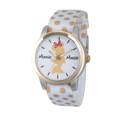 Disney® Womens Minnie Mouse White And Goldtone Polka Dot Silhouette Strap Watch