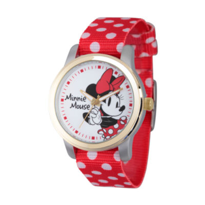 Disney® Womens Minnie Mouse Red And White Polka Dot Strap Watch