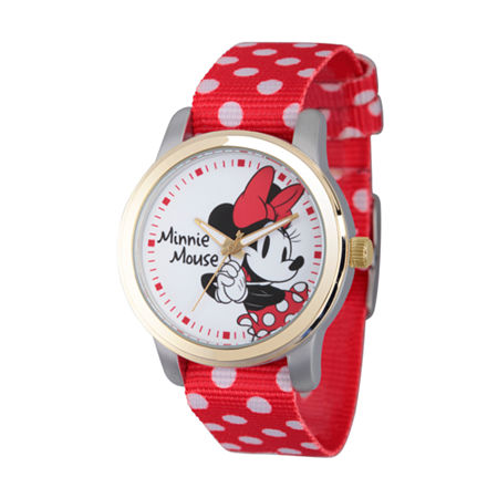 Disney Womens Minnie Mouse Red And White Polka Dot Strap Watch, One Size