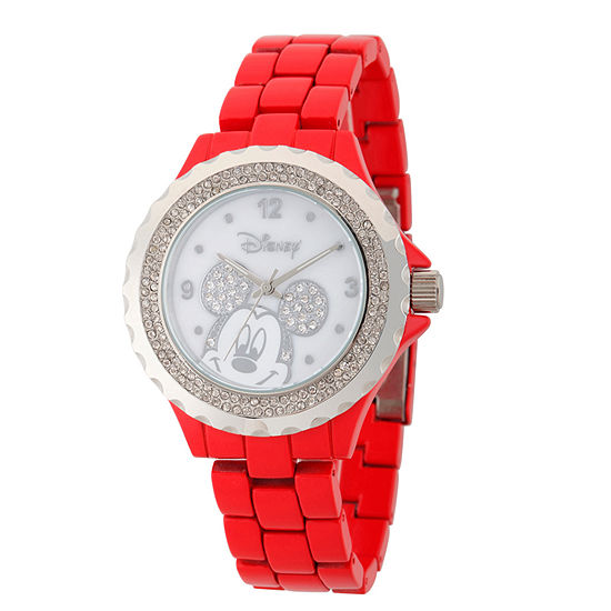 Disney® Womens Mickey Minnie Red And Silver ToneGlitz Bracelet Watch