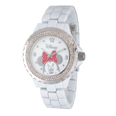 Disney® Womens Minnie Mouse White Glitz Bracelet Watch