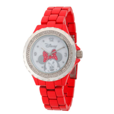 Disney® Womens Minnie Mouse Red And Silver Tone Bow Bracelet Watch