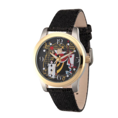 Disney® Womens Alice In Wonderland Black Red Queen Strap Watch
