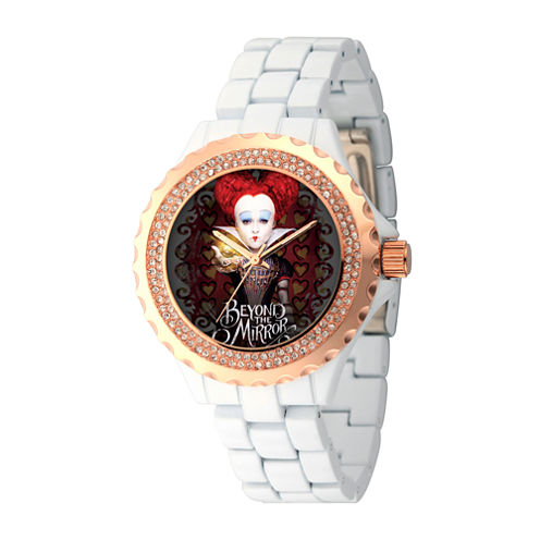 Disney® Womens Alice In Wonderland White And RoseGold Tone Red Queen Bracelet Watch